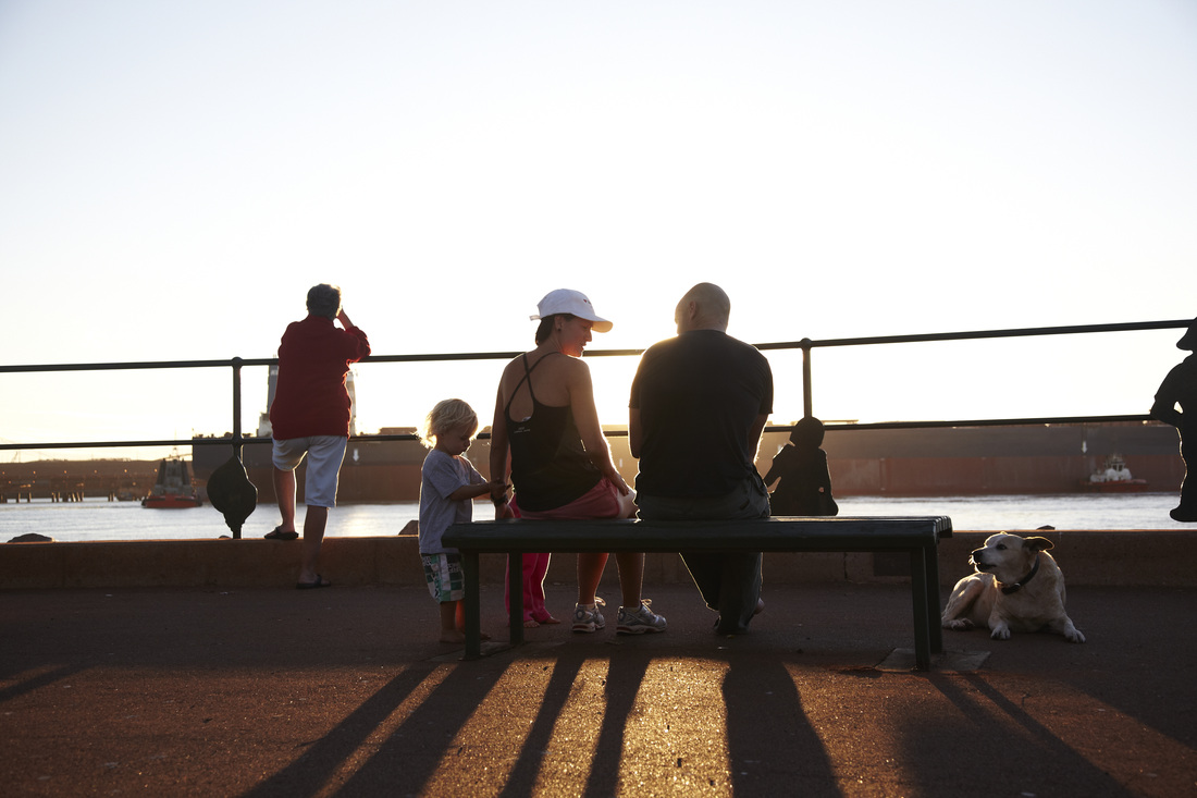 Sunsets over the ocean and Port Hedland, an evening walk is a relaxing way to finish the day.